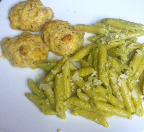 Avocado Pesto Pasta with Steal the Show Cheesy Chicken Meatballs