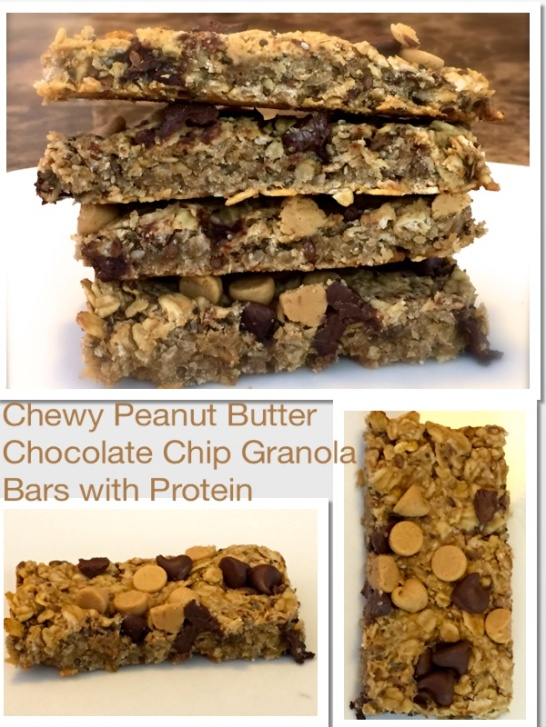 Chewy Peanut Butter Chocolate Chip Granola Bars with Protein