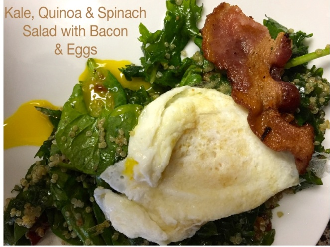AMAZING!!! Kale, Quinoa, & Spinach Salad with Bacon & Eggs