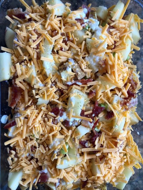 Pre Oven Loaded Baked Potato with Chicken and Bacon Casserole