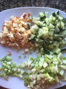 The well diced cucumber, apples and green onion